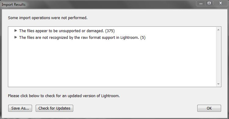 Problem solution: Lightroom does not recognize RAW format of the new camera