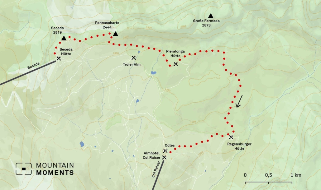 The distance of this hiking trip is 6,5km, which takes about 2 hours to finish. The highest point is 2518 meters.