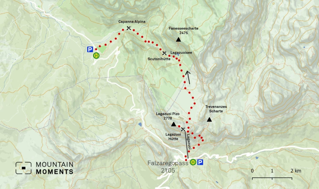 On Lagazuoi Hike Map, you can see the rout that many often explore for more than five hours. The tour can be shortened by taking the Lagazuo cable car up the mountain.
