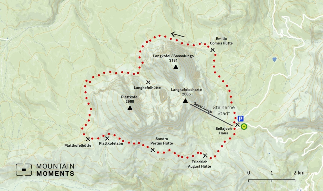 The alternative starting points for this tour are cable cars: the Selva Ciampinoi cable car, the Piz Sella/Piz Seteur cable cars in Plan de Gralba, the Florioan lift in Saltria, the Col Rodella cable car in Campitello di Fassa. In addition, the ascent of the Sassopiatto or the Sassolungo chute is worthwhile. This 16-kilometer hiking route can be finished in six hours and is medium on a difficulty scale.