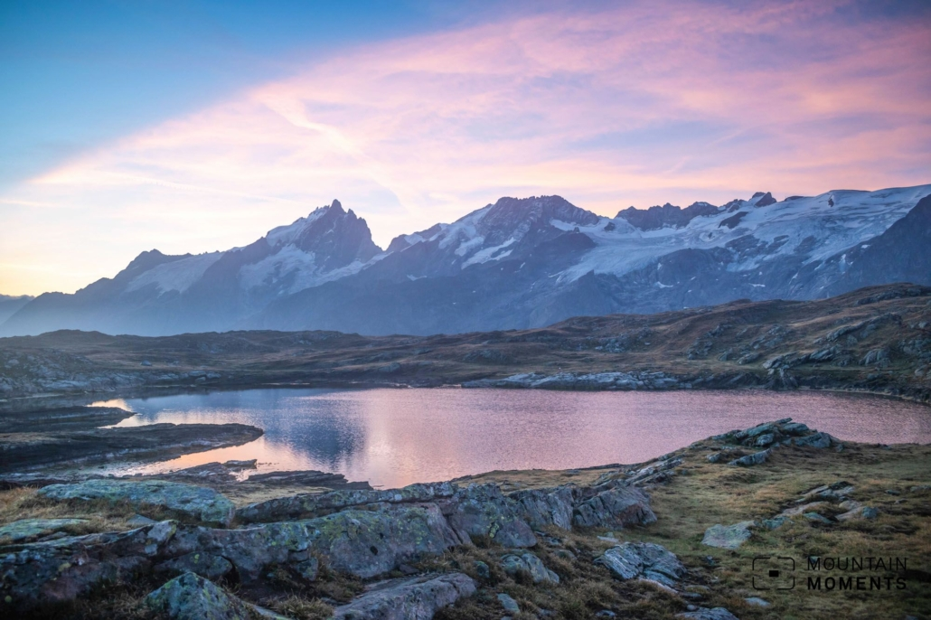 From the Black lake (Lac Noir) you can enjoy an impressive view over the Massif des Écrins and over the striking mountain peak of the Meije, mountain in the Pelvoux in the Dauphiné Alps, the landmark of the French Western Alps.