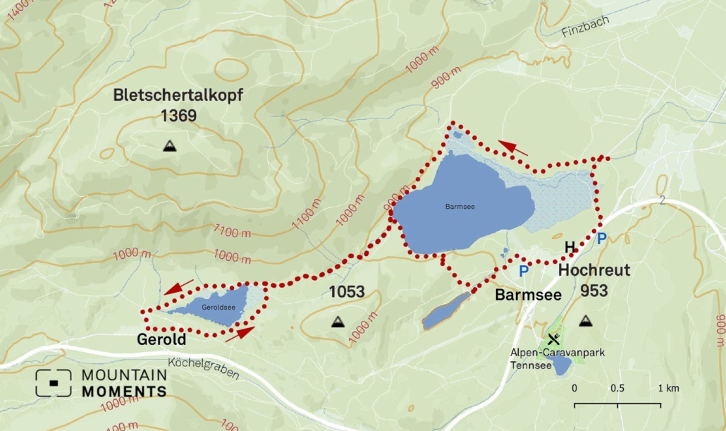 The starting point is 200 meters further in the direction of the B2 federal road. This 10km hiking route is considered easy and is ideal for beginners and families