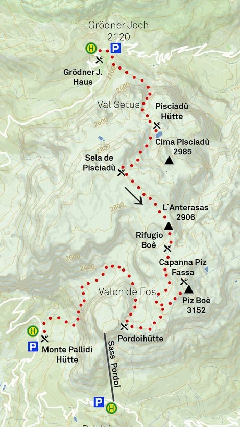 Alternatively for climbing enthusiasts, be informed about the local via ferrata options and alternative ascents. In addition, the descent via the Val Mezdi/Mittagstal (Midday valley) is a frequently used option, as the end of the valley is close to the starting point.
