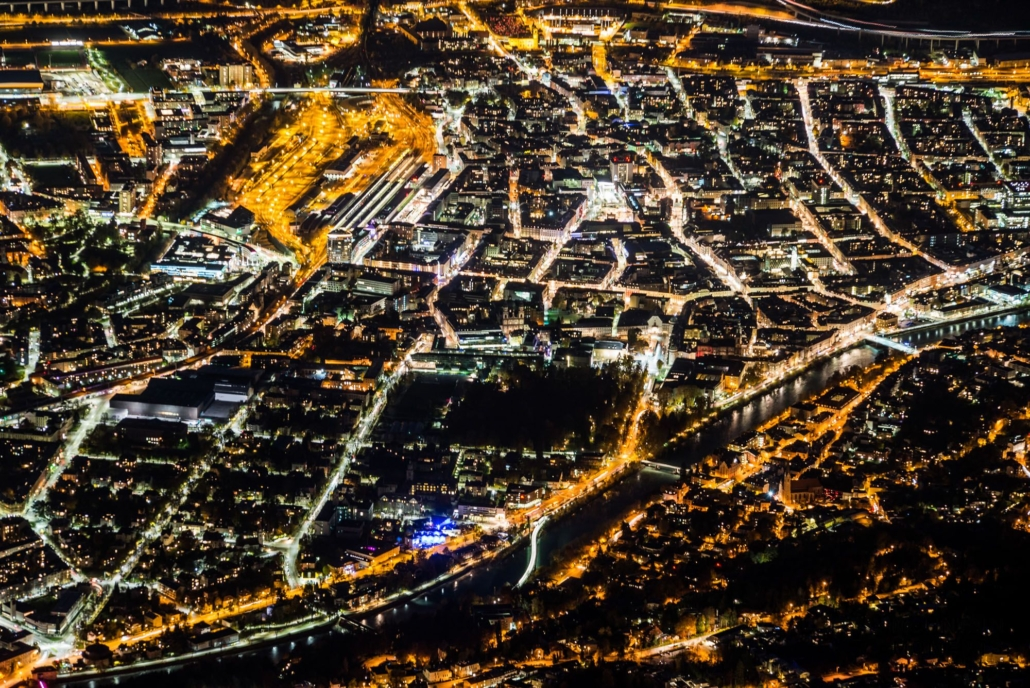 Traffic and street lights above the city of Innsbruck