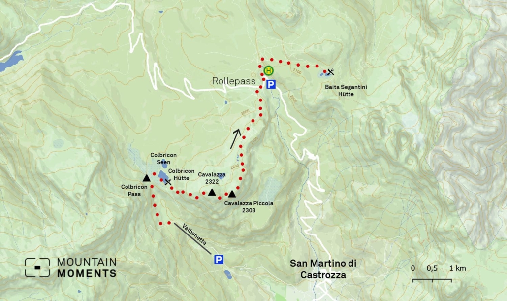 This is an easy circular hike to Baita Segantini and is suitable for strollers. The Pala Group and the ascent of the peaks are mostly possible by via ferrata. Sensible traverses of the Pala Group require some organizational skills and at least two days.