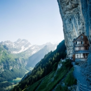 Telephoto Lens Target - World's Most Famous Mountain Hut and Lake Seealpsee