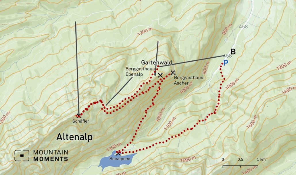 """This worthwhile detour leads through wonderful alpine landscapes (""""Hütten"""", 1200m) along a driveway past some alpine pastures (mostly open on weekends) and further downhill on a well-built hiking trail (1177m) over the Hüttentobel to the Wasserauen parking lot/railway station."""