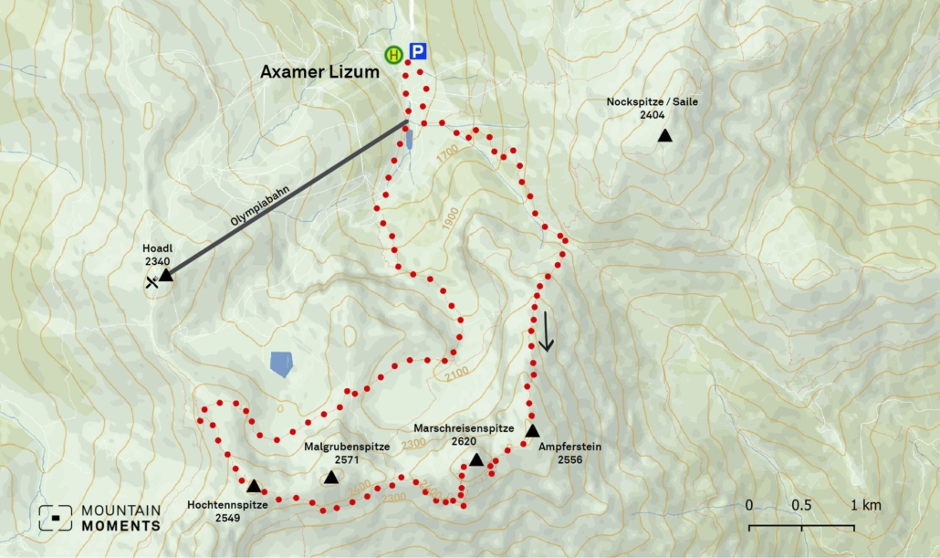 Those who are a bit more lazy can also ascend briefly to the Hoadl mountain station via the Hoadlsattel and manage the rest of the way back in the mountain railroad. This area can be seen on this map