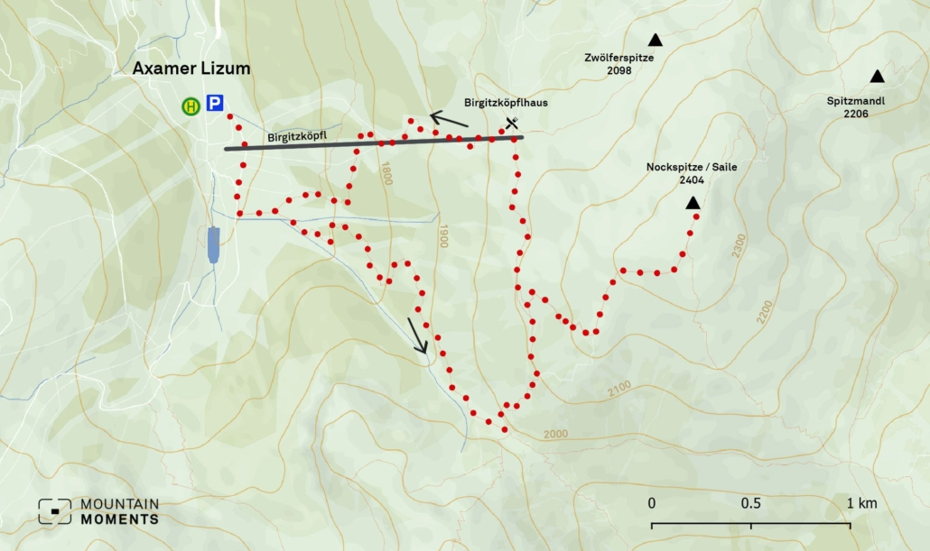 The Nockspitze hiking adventure is graded as medium difficulty-wise, so some experience is preferred. The highest/lowest points are 2404m/1570m.