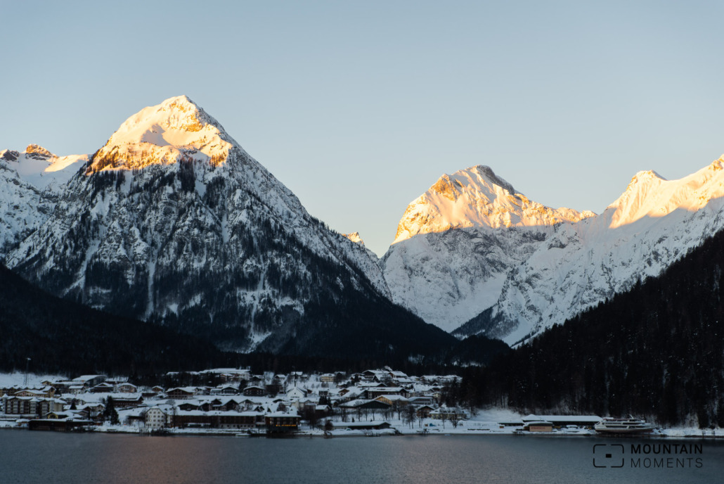 Pertisau photographed from a parking bay at sunrise.