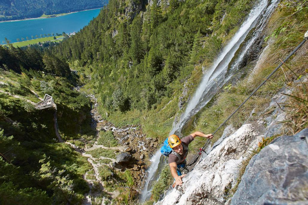 Via ferrata at the Dalfaz waterfall, location: Maurach-Eben, photo Achensee Tourismus